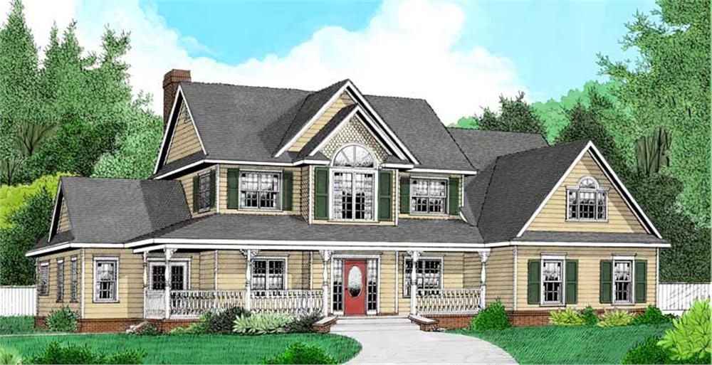 Front elevation of Country home (ThePlanCollection: House Plan #173-1055)
