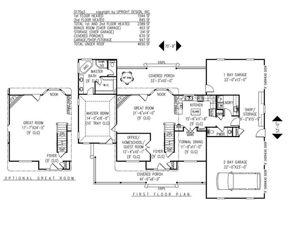 House Plan D170g3 Main Floor Plan
