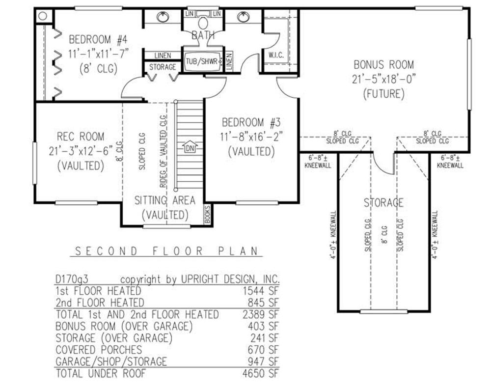 House Plan D170g3 Second Floor Plan
