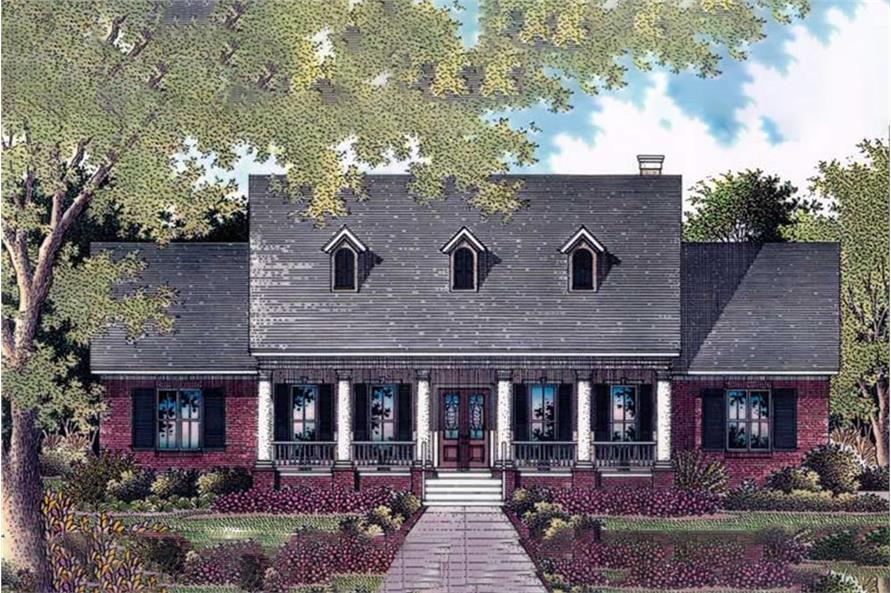 Artist's Rendering of Cape Cod home plan (ThePlanCollection: House Plan #174-1017)