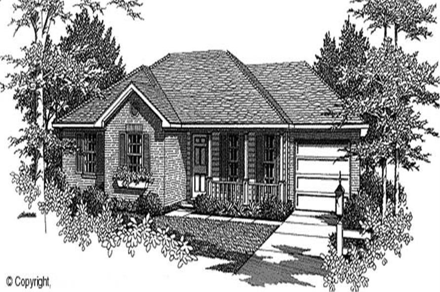 3-Bedroom, 1070 Sq Ft Country House Plan - 174-1018 - Front Exterior