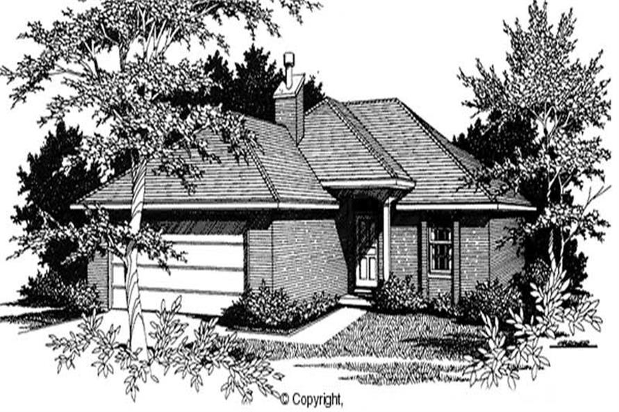 3-Bedroom, 1141 Sq Ft European Home Plan - 174-1021 - Main Exterior