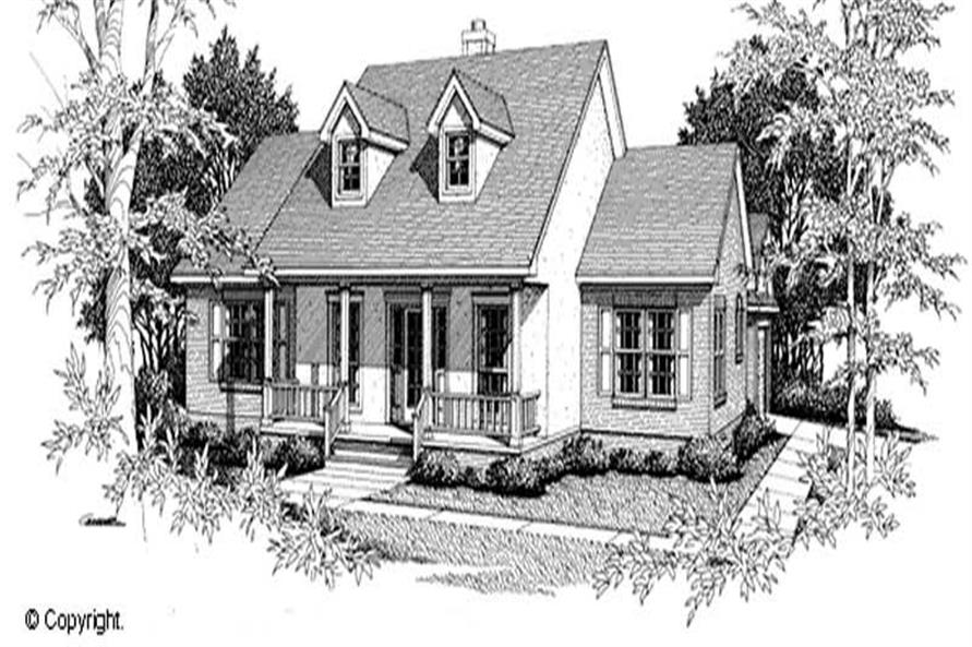 3-Bedroom, 1647 Sq Ft Cape Cod Home Plan - 174-1025 - Main Exterior