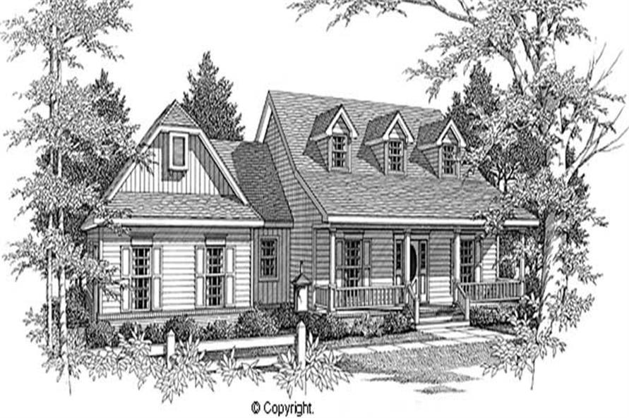 3-Bedroom, 1981 Sq Ft Cape Cod House Plan - 174-1028 - Front Exterior