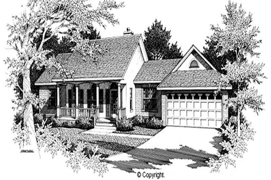 3-Bedroom, 1558 Sq Ft Country Home Plan - 174-1036 - Main Exterior