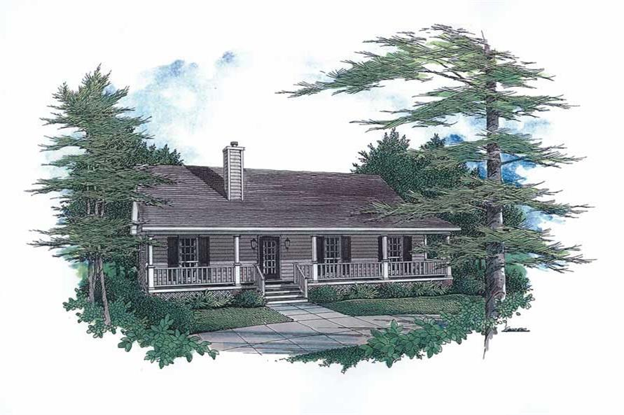 Front elevation of Country Ranch (ThePlanCollection: House Plan #174-1043)
