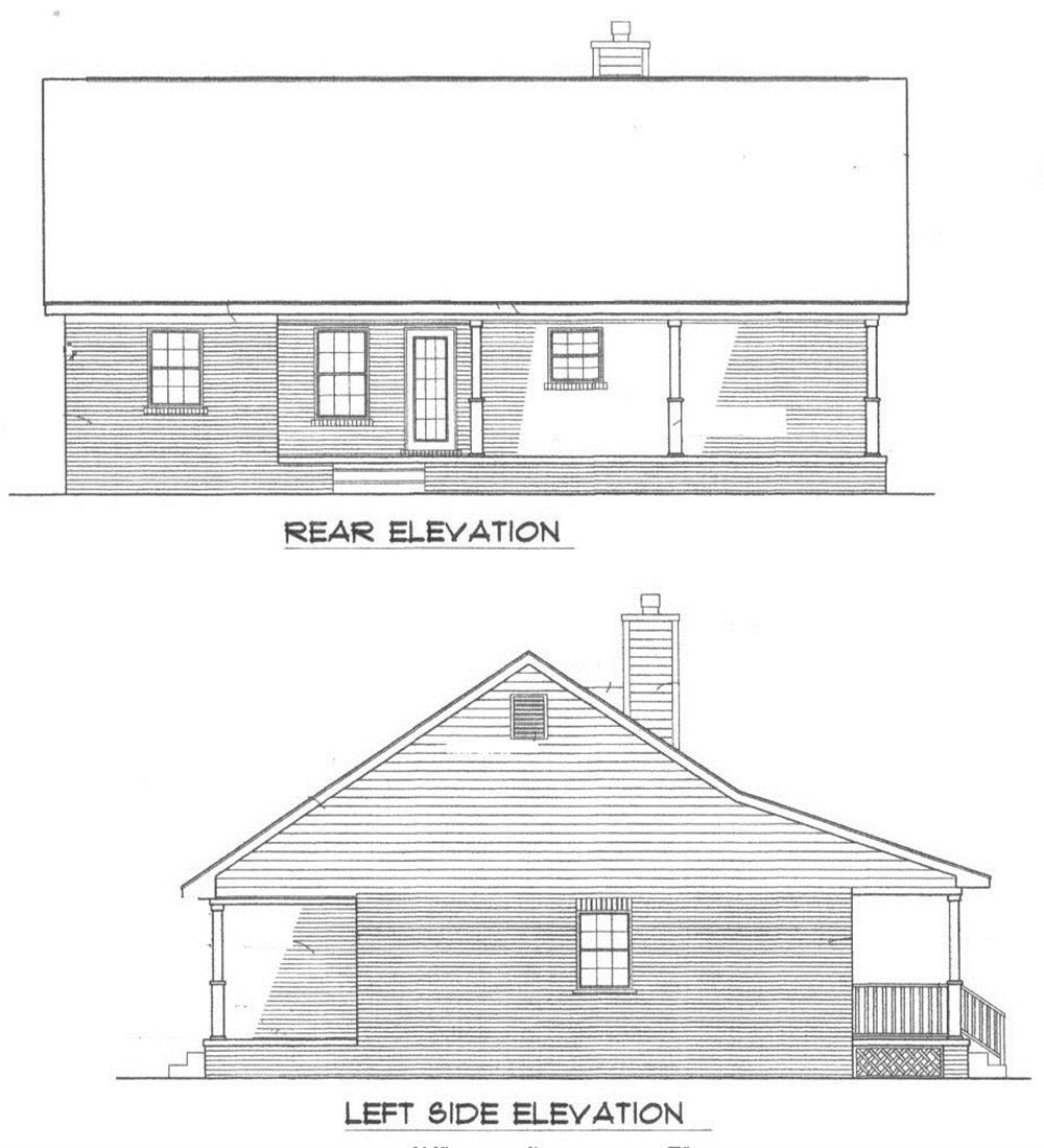 174-1043: Home Plan Rear Elevation