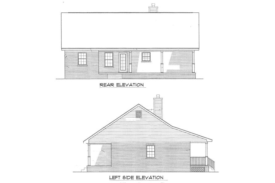 Home Plan Rear Elevation of this 3-Bedroom,1277 Sq Ft Plan -174-1043