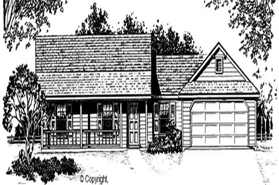 3-Bedroom, 1233 Sq Ft Country Home Plan - 174-1047 - Main Exterior