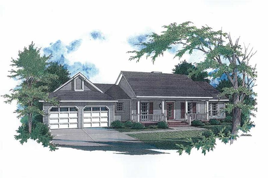Front elevation of Country home (ThePlanCollection: House Plan #174-1051)