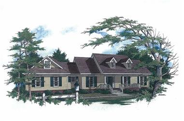 3-Bedroom, 1771 Sq Ft Cape Cod Home Plan - 174-1069 - Main Exterior