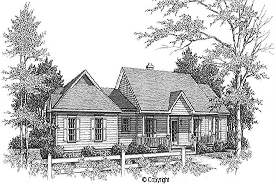 3-Bedroom, 1765 Sq Ft Country Home Plan - 174-1070 - Main Exterior