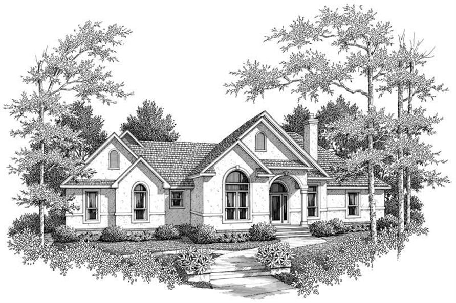 3-Bedroom, 2104 Sq Ft Mediterranean House Plan - 174-1072 - Front Exterior