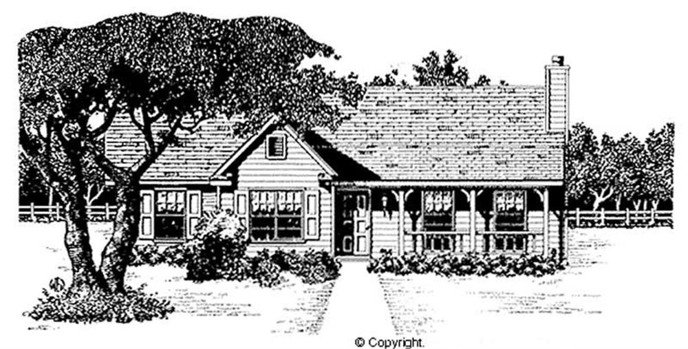 Front elevation of Country home (ThePlanCollection: House Plan #174-1086)