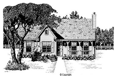 3-Bedroom, 1253 Sq Ft Country Home Plan - 174-1086 - Main Exterior