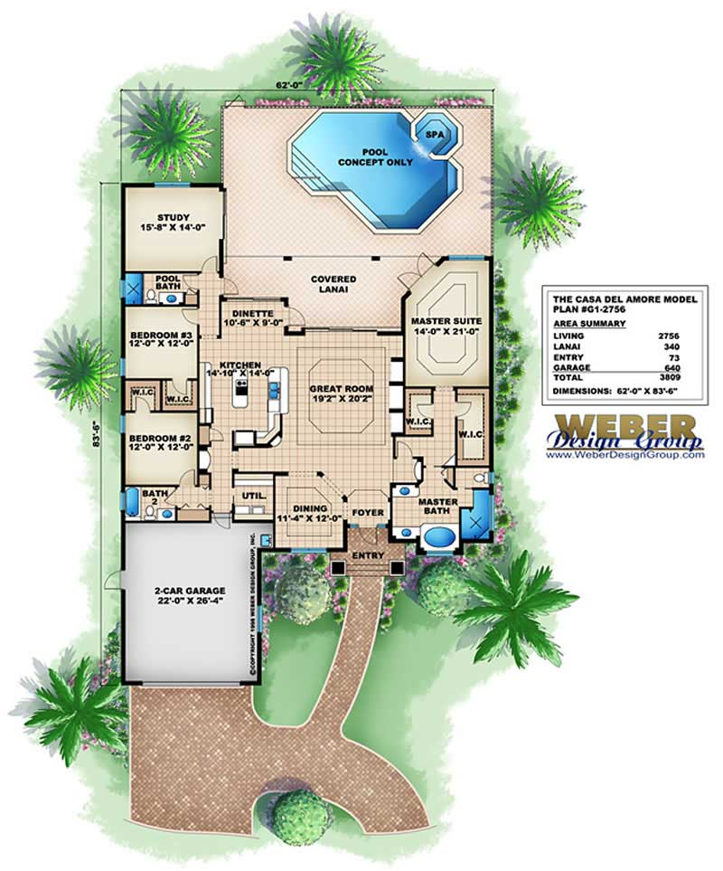 Contemporary floor plan 4 bedrms 3 baths 2756 sq ft for Golf course home plans