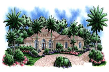 4-Bedroom, 3698 Sq Ft Florida Style House Plan - 175-1002 - Front Exterior