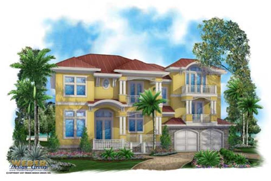 Mediterranean Home Plans color front elevation.