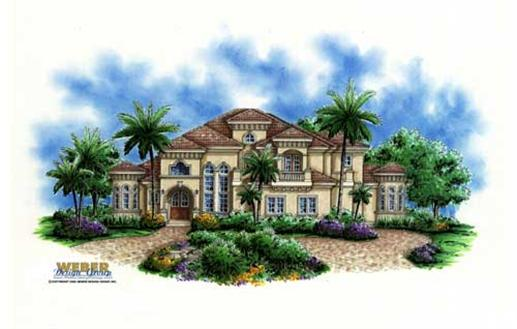 This image shows the Mediterranean/ Florida Style for this set of house plans.