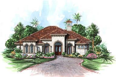 4-Bedroom, 3274 Sq Ft Mediterranean House Plan - 175-1005 - Front Exterior