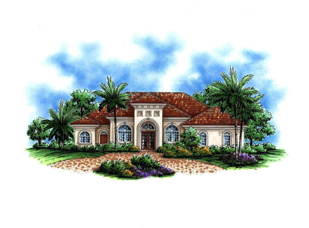 This image shows a colorful artist's rendering of these Mediterranean Homeplans.