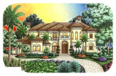 This is a colorful rendering of these Tuscan Mediterranean House Plans.