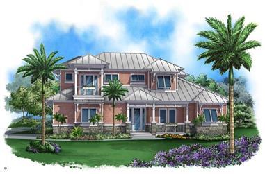 4-Bedroom, 3451 Sq Ft Coastal House Plan - 175-1011 - Front Exterior