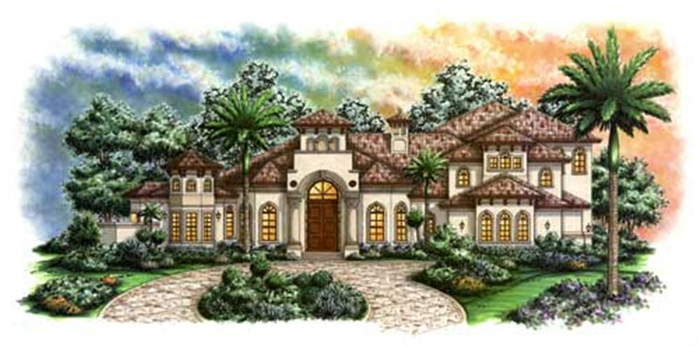 Luxury House Plans F2-5438 color front rendering.