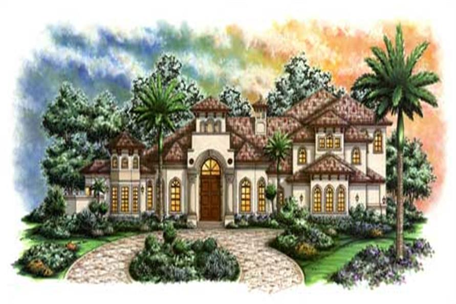 4-Bedroom, 5438 Sq Ft Florida Style House Plan - 175-1012 - Front Exterior