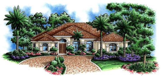 This images shows an artist's rendering of these Mediterranean Home Plans.