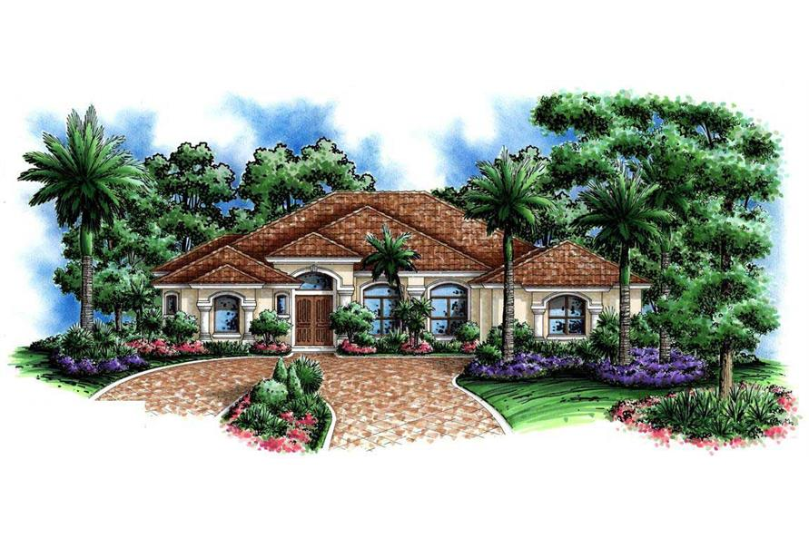 5-Bedroom, 3447 Sq Ft Florida Style House Plan - 175-1013 - Front Exterior