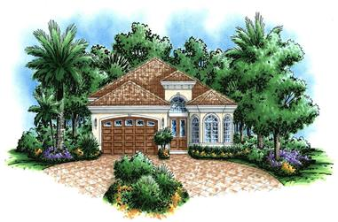This image is a colored rendering of these Mediterranean Homeplans.
