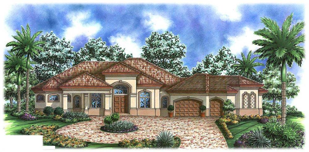 This is a colored front elevation of these Tuscan House Plans.