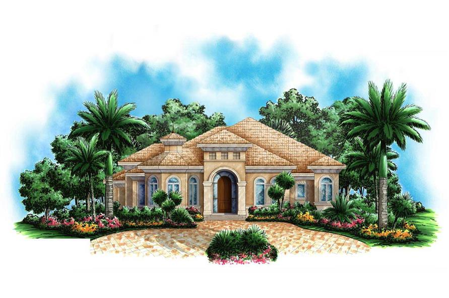 This image is a colored rendering of these Mediterranean Houseplans.