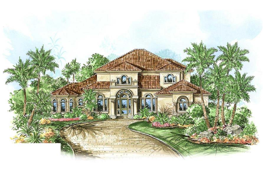 This is a colored front elevation for these Mediterranean House Plans.