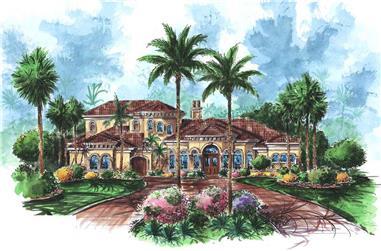 5-Bedroom, 4978 Sq Ft Luxury Home Plan - 175-1019 - Main Exterior