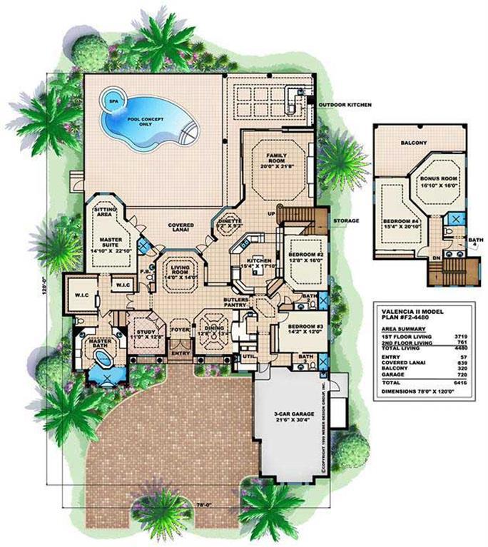 Mediterranean Houseplans   Home Design Valencia II    Floor Plan First Story