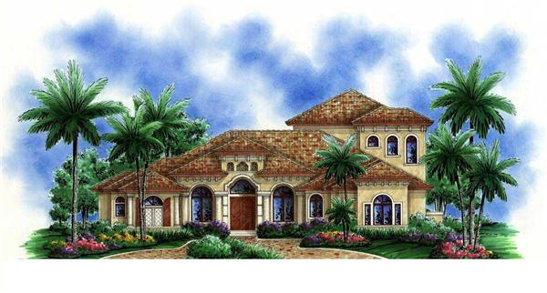This image is an artist's rendering of these Mediterranean House Plans.