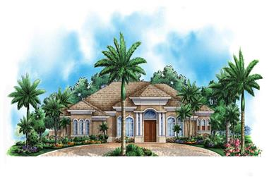 3-Bedroom, 3218 Sq Ft Florida Style House Plan - 175-1021 - Front Exterior