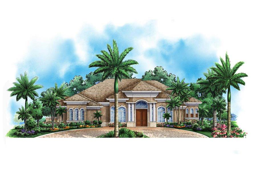 This is a colored elevation of these Florida Homeplans.