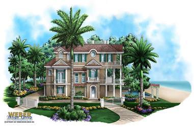 3-Bedroom, 3996 Sq Ft Coastal Home Plan - 175-1023 - Main Exterior