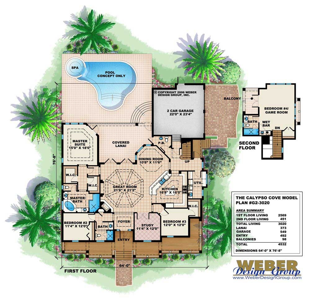 Florida Style House Plan - 4 Bedrms, 3.5 Baths - 3020 Sq