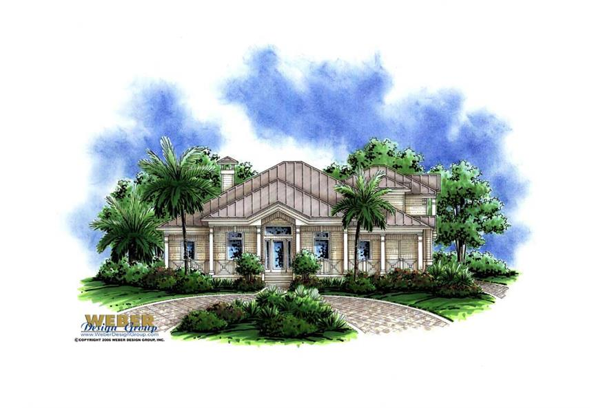 4-Bedroom, 3020 Sq Ft Florida Style Home Plan - 175-1024 - Main Exterior