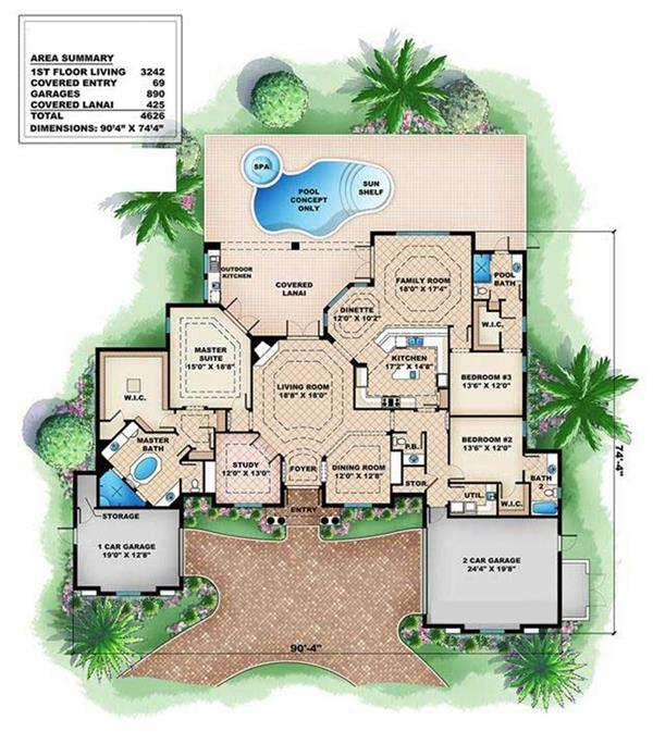 175-1026 house plan main level
