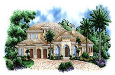 4-Bedroom, 5049 Sq Ft Florida Style House Plan - 175-1027 - Front Exterior