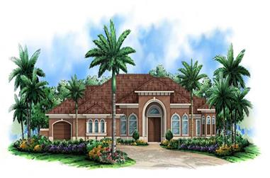 3-Bedroom, 3517 Sq Ft Coastal House Plan - 175-1028 - Front Exterior