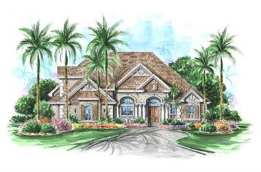 4-Bedroom, 5025 Sq Ft Florida Style House Plan - 175-1029 - Front Exterior