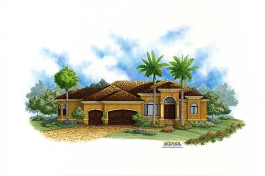 Mediterranean plans color front elevation.