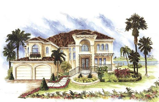 This image is a colorful drawing that shows the front elevation of these Mediterranean House Plans.