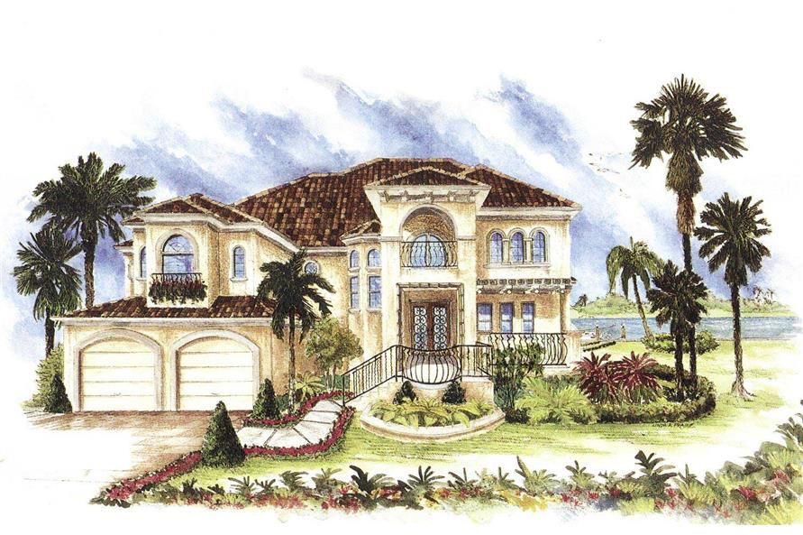 Mediterranean House Plans plan of the week mediterranean house plans blog 175 1033 This Image Is A Colorful Drawing That Shows The Front Elevation Of These Mediterranean House Plans